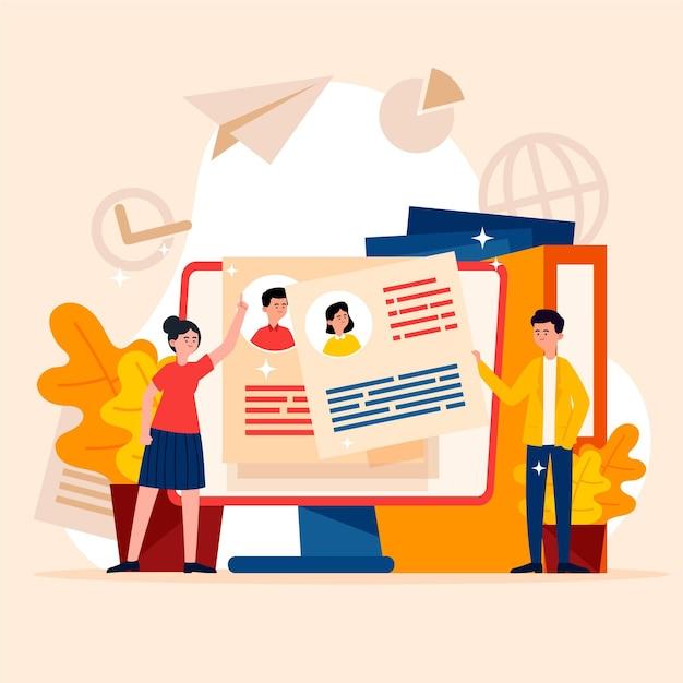 Illustrazione di concetto di assunzione Vettore gratuito