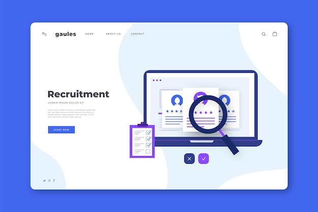 Recruitment concept landing page template Premium Vector