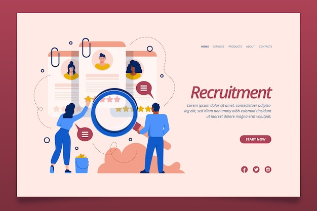 Recruitment concept landing page template Free Vector