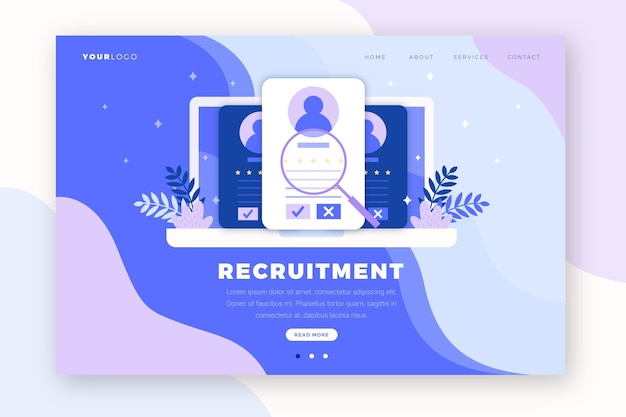 Recruitment concept landing page Free Vector
