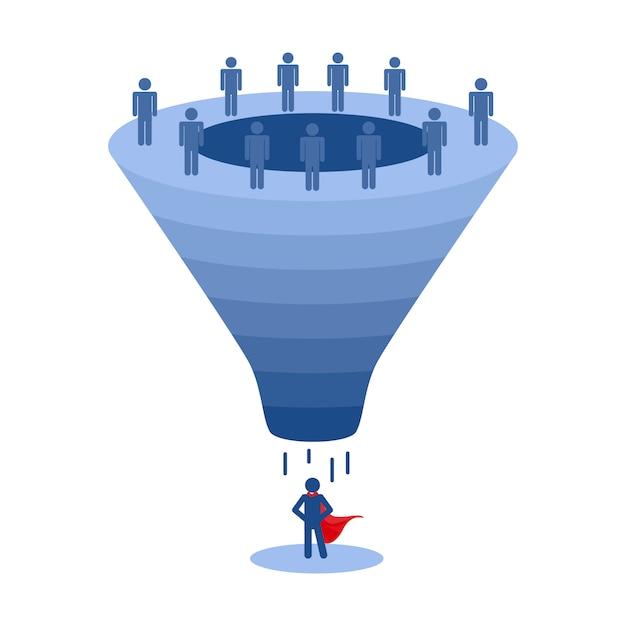 Recruitment funnel, applicant selection vector Premium Vector