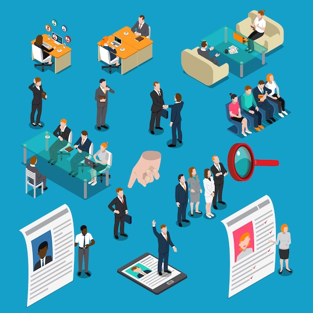 Recruitment hiring isometric people Free Vector