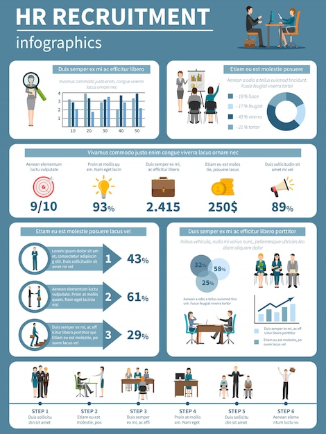 Recruitment hr people infographics Free Vector