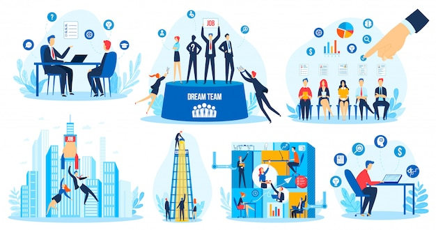 Recruitment hr search concept vector illustration set Premium Vector