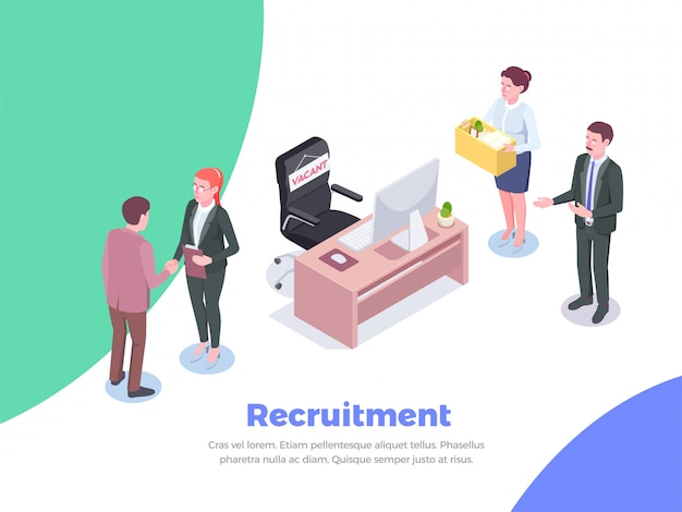 Recruitment isometric background with editable text and human characters of job candidates and office executive workers  illustration Free Vector