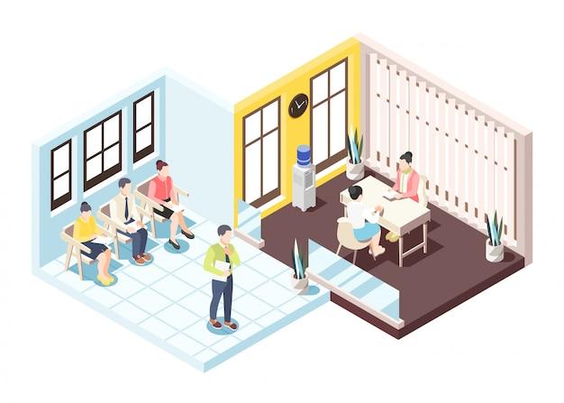Composizione isometrica in assunzione con la gente che si siede sulle sedie che attendono intervista per l'illustrazione di vettore di occupazione Vettore gratuito