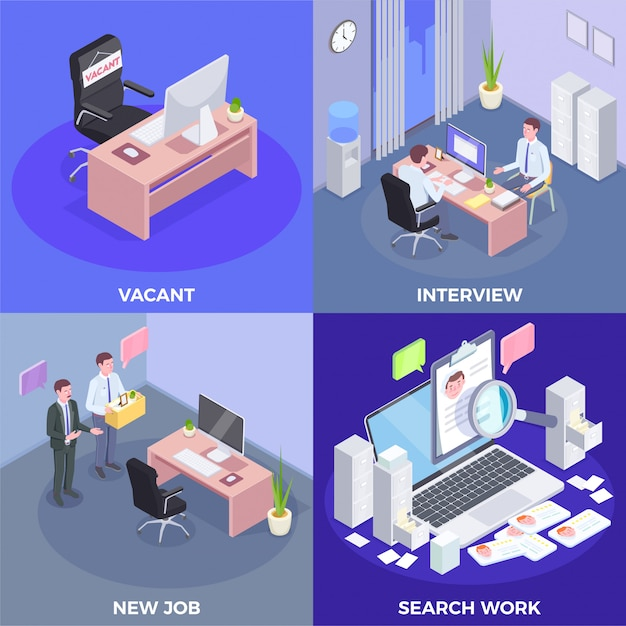 Recruitment isometric design concept with indoor views of job interview procedures conceptual pictogram icons and text  illustration Free Vector