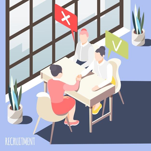 Набор изометрии с менеджером, делающим выбор двух претендентов при подаче заявки на работу векторные иллюстрации Бесплатные векторы