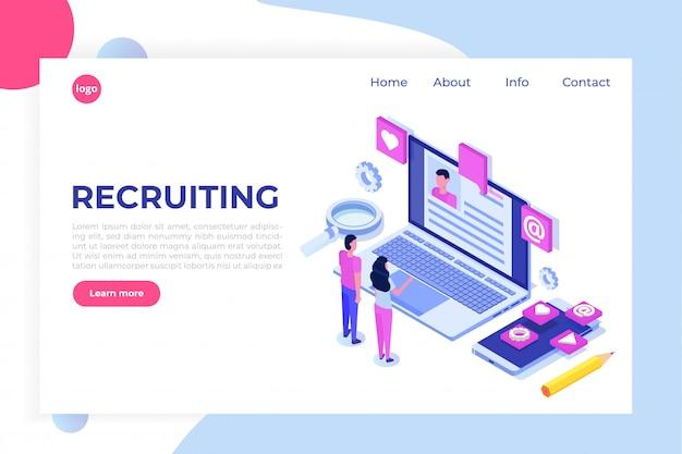 Recruitment, job search isometric concept. use for presentation, social media, cards, web banner.  illustration Premium Vector