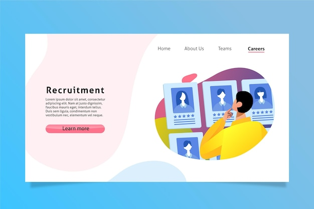 Recruitment landing page Free Vector