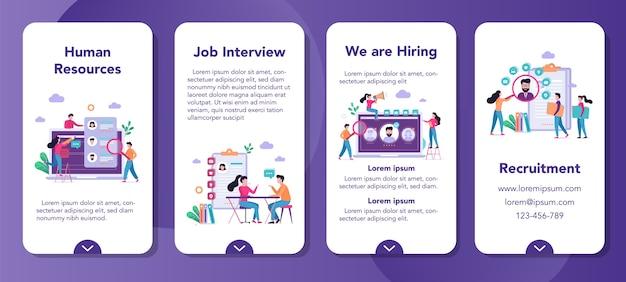 募集モバイルアプリケーションバナーセット。雇用と人材のアイデア。仕事の候補者を探します。空き地、就職の面接。 Premiumベクター