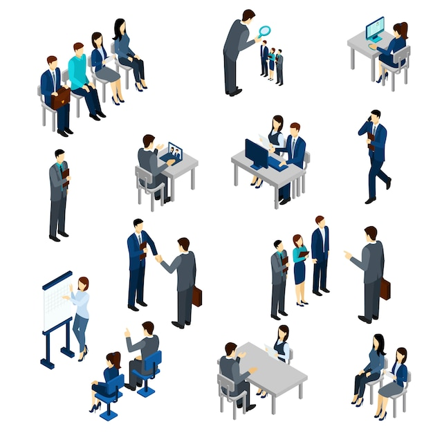Recruitment Process Set Free Vector