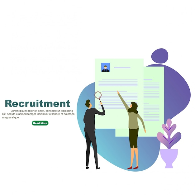 Recruitment process Premium Vector