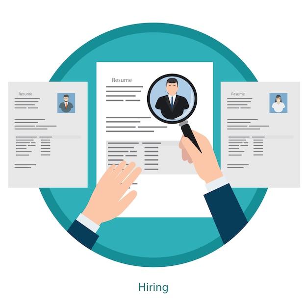 Recruitment and resume picking concept Premium Vector