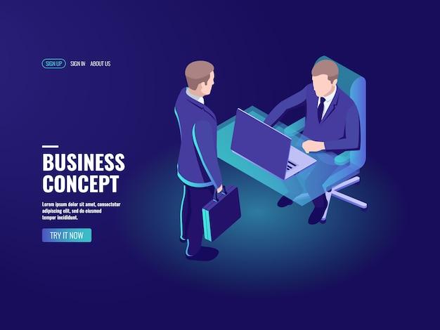 Recruitment, vacancy, job interview, business consultation management bank employee Free Vector