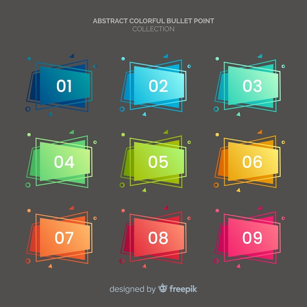 Rectangle bullet point collection Free Vector