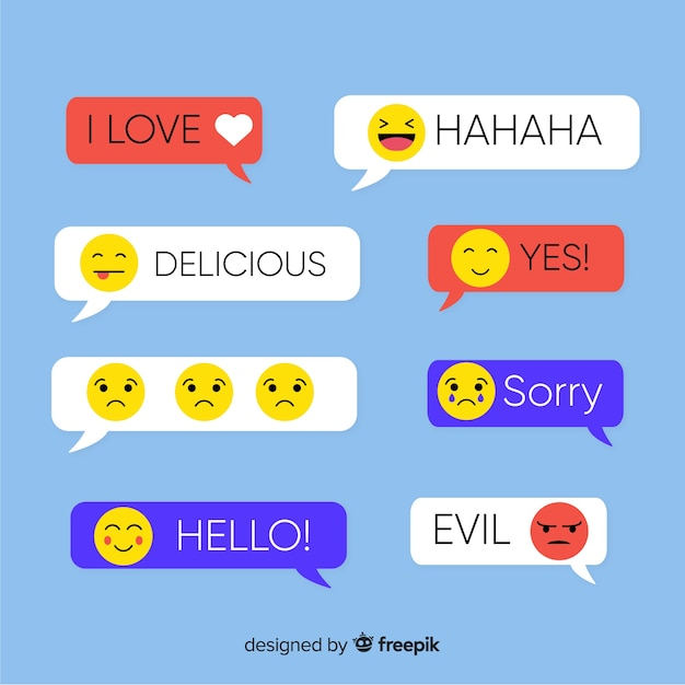 Rectangle flat design messages with emojis Free Vector