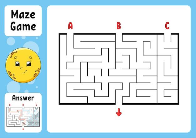 Прямоугольный лабиринт. игра для детей. три входа, один выход. пазл для детей. загадка лабиринта. Premium векторы