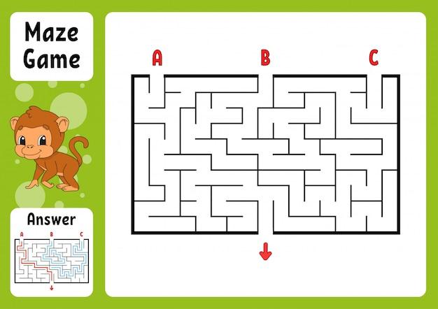 Прямоугольный лабиринт. игра для детей. три входа, один выход. Premium векторы