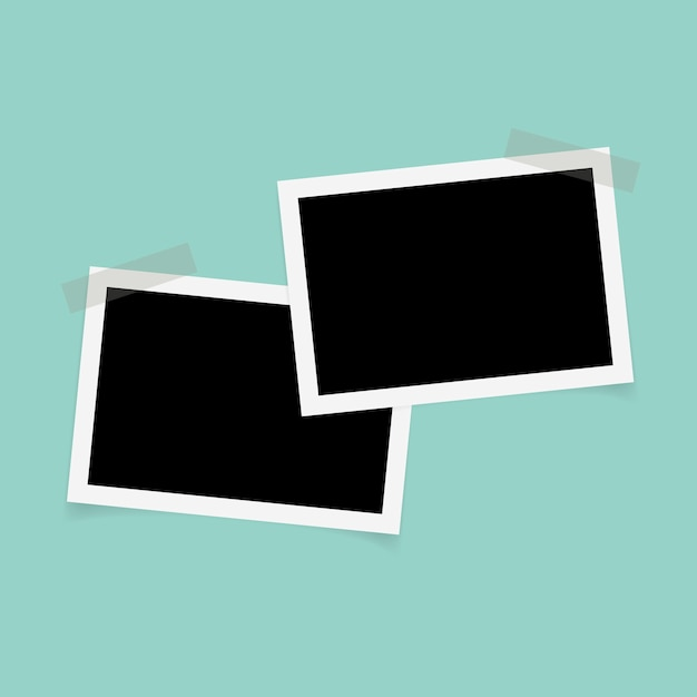 Rectangle photo frames with sticky tape. Vector | Premium Download