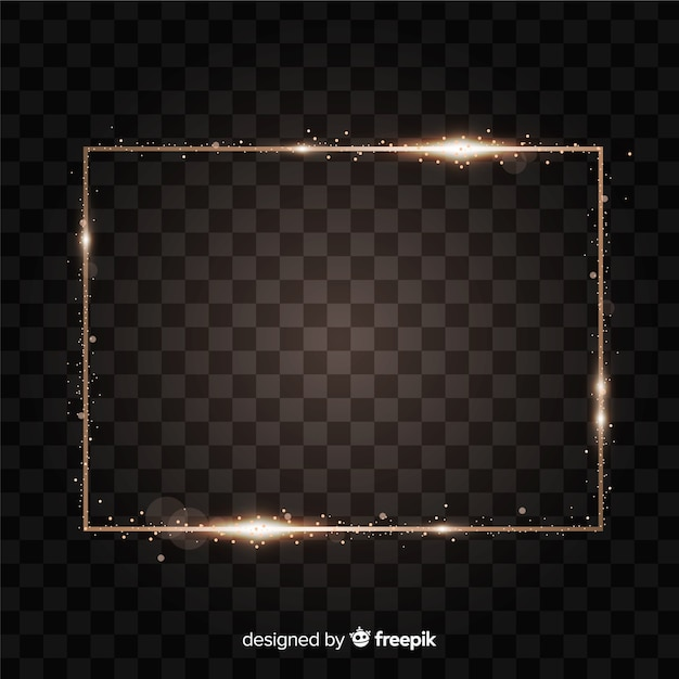 Rectangle realistic golden frame Free Vector