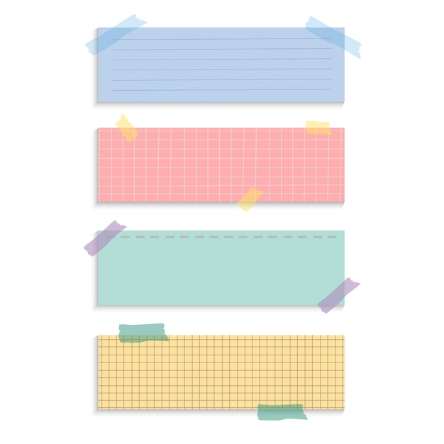 Rectangle reminder paper notes vector set Free Vector