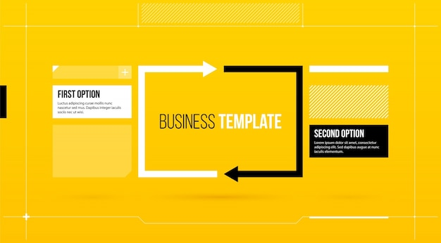 Rectangular arrows template with two options on yellow background rectangular arrows template with two options on yellow background in elegant blueprint style premium vector malvernweather Image collections
