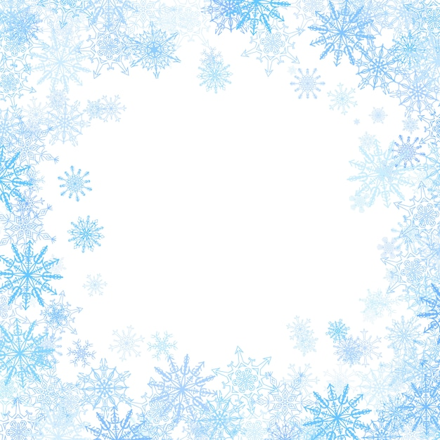 Rectangular frame with small blue snowflakes Premium Vector