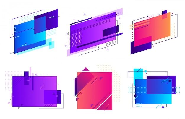 Прямоугольные геометрические значки. модный фрейм, минимальный и абстрактный градиенты фреймы шаблон макета фона набор Premium векторы