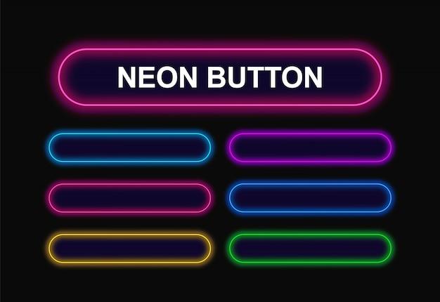 Webデザイン用の角の丸い長方形のネオンボタン。 Premiumベクター