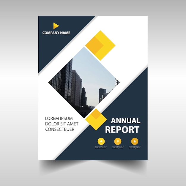 Rectangular Professional Annual Report Template Vector  Free Download