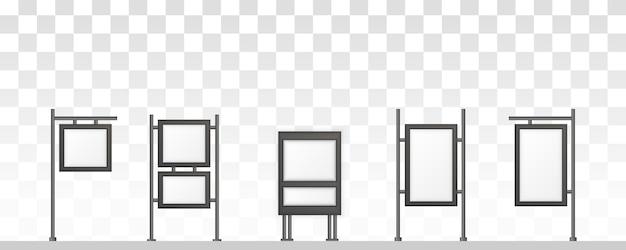 Прямоугольные вывески светового короба вывески. цифровые вывески, изолированные на белом фоне. макет для рекламы. иллюстрация. Premium векторы