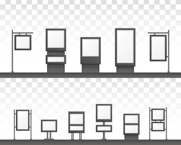 Прямоугольные вывески светового короба вывески. цифровые вывески, изолированные на белом фоне. макет для рекламы. Premium векторы