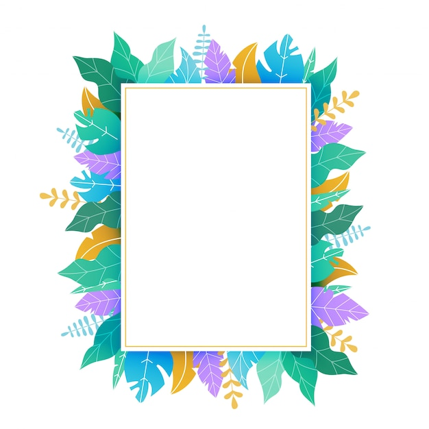 Rectangular template with green and yellow leaves Premium Vector