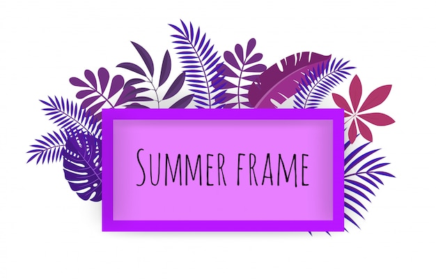 Rectangular tropical frame, template with place for text.  illustration,  on white. Premium Vector