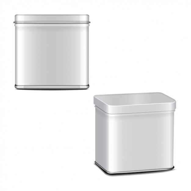 Rectangular white gloss tin can. container for coffee, tea, sugar, sweet, spice. realistic illustration packaging set Premium Vector