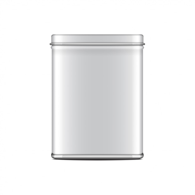 Rectangular white gloss tin can. container for coffee, tea, sugar, sweet, spice.  realistic illustration packaging Premium Vector