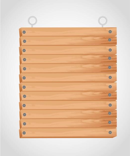 Rectangular wooden board with grommets for hanging Premium Vector