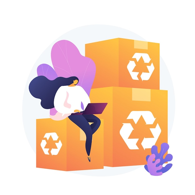 Перерабатываемая и экологически чистая упаковка. отслеживание заказов, интернет-магазины, служба доставки. картонные коробки многоразового использования, тара из экологических материалов. Бесплатные векторы