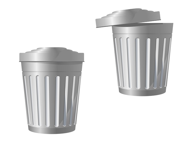 Recycle bin icon in two variations isolated on white Premium Vector