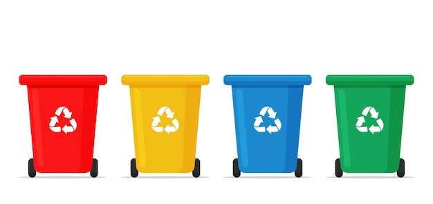 Recycle bin . red, yellow, blue and green recycle bins for sorting waste. Premium Vector