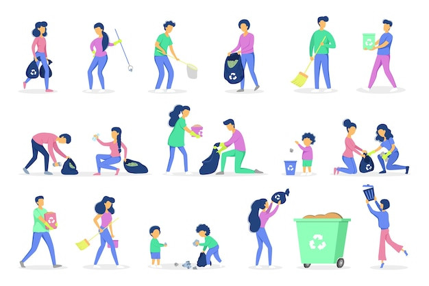 Recycle concept. ecology and environment care. idea of garbage reuse. volunteers picking up and sorting paper and plastic rubbish. garbage collection with family.  illustration Premium Vector