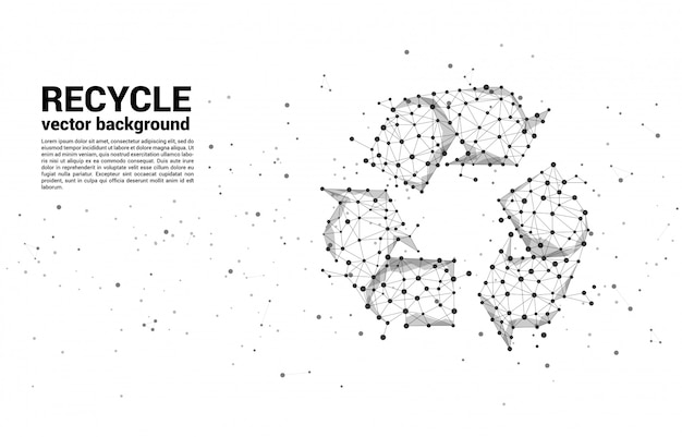 Recycle icon from dot connect line polygon network template Premium Vector