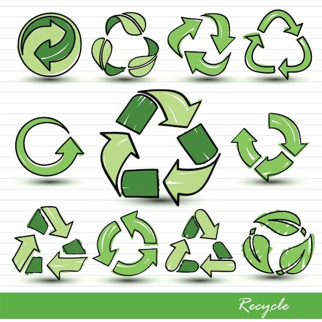 Recycle icons Premium Vector