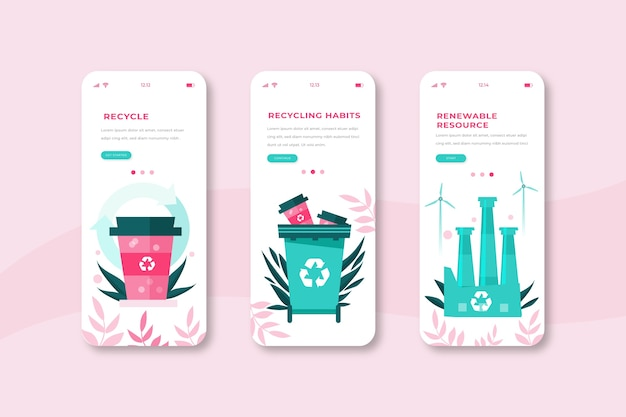 Recycle onboarding app screens phone Free Vector