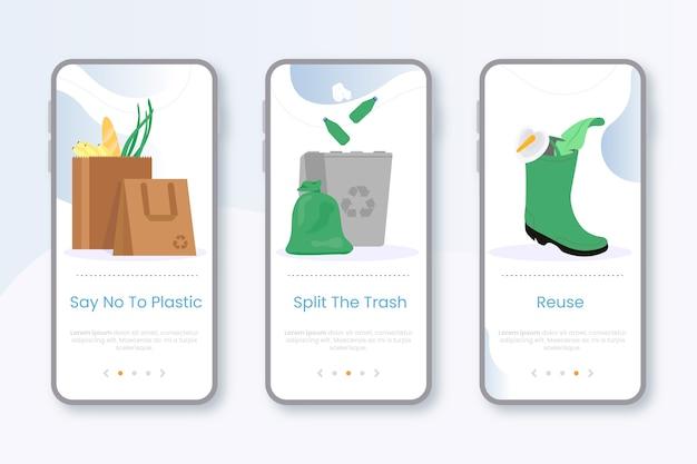 Recycle onboarding app screens Free Vector