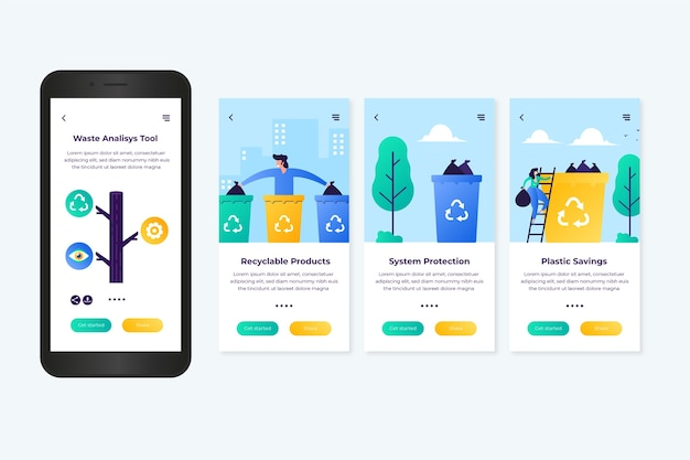 Recycle onboarding app screens Free Vector