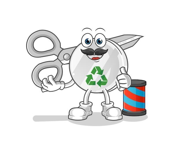リサイクルサイン床屋漫画イラスト Premiumベクター