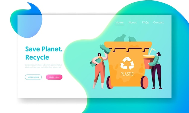 Целевая страница для сортировки пластикового мусора. Premium векторы