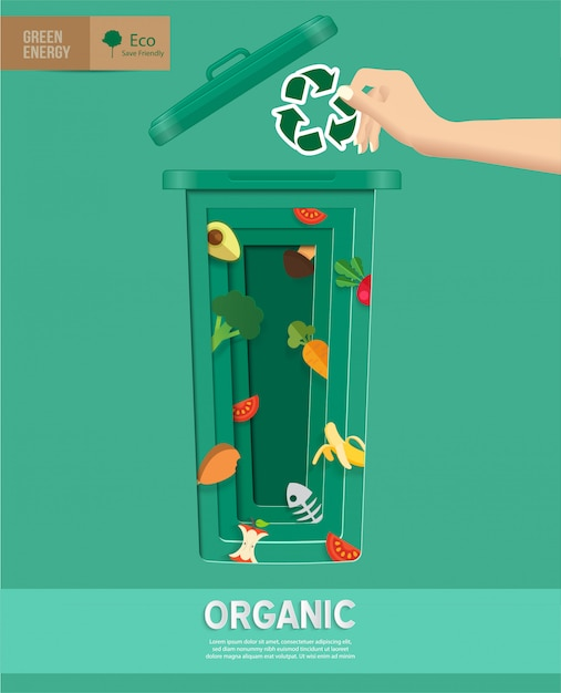Recycle waste bins infographic in paper cut Premium Vector